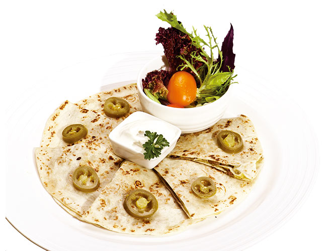 <b>Mexican Quesadillas</b><br/>Two flour tortillas stuffed with mushrooms and cheese with your choice of: beef or chicken, served with pico de gallo and sour cream