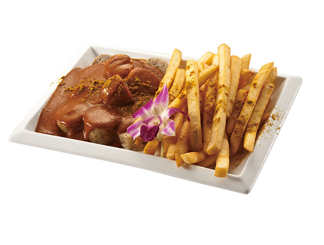 <b>Curry Wurst</b><br/>Juicy pork sausages topped with tomato-curry sauce, served with crunchy potato fries