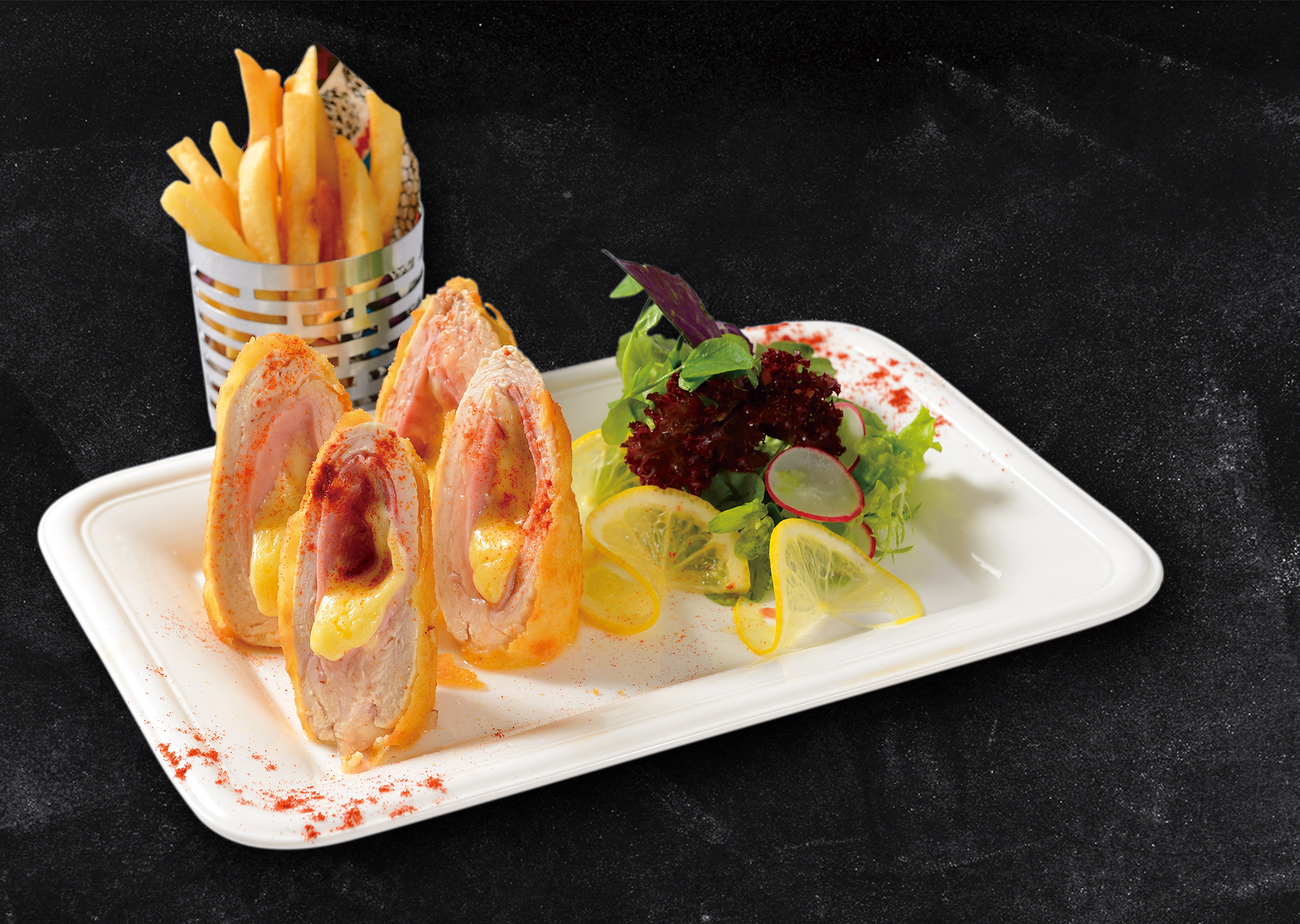 <b>Chicken Cordon Bleu</b><br/>Two Breaded Chicken Breasts Stuffed with
