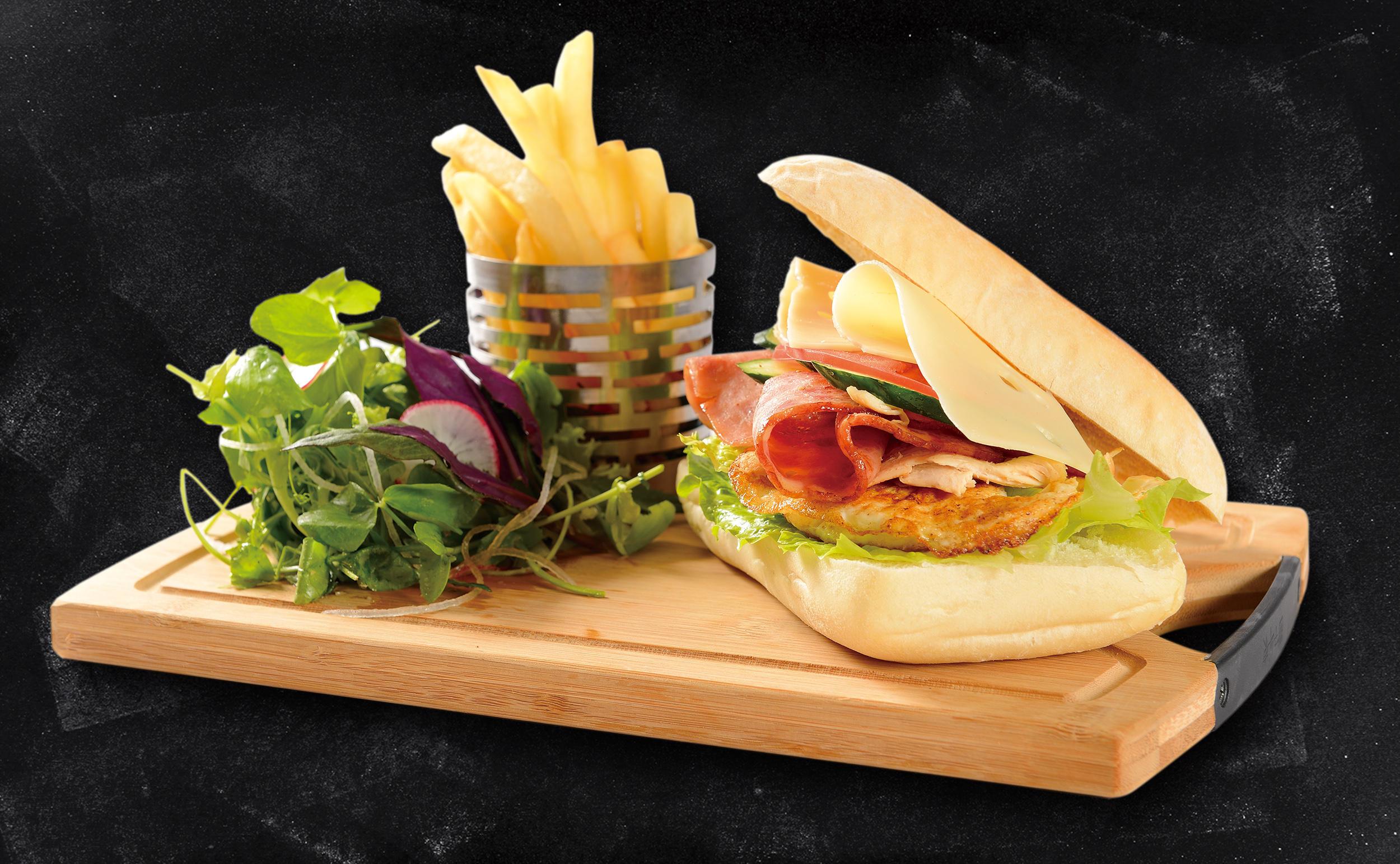 <b>Club Sandwich</b><br/>Traditional Club Sandwich with a Grilled Chicken