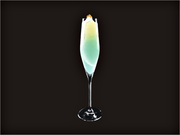 <b>Lord Cocktail</b><br/>Blue Curacao, Brandy, Margarita Mix, Sake, Gold Foil