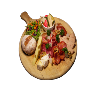 <b>Cold Cuts with Cheese</b><br/>A selection of four kinds of cold cut meats, grilled vegetables, two kinds of cheese served with freshly baked panini bread.