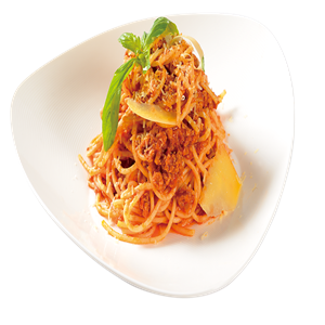 <b>Spaghetti Bolognese with Parmesan</b><br/>Spaghetti covered in a tomato meat sauce served with parmesan.