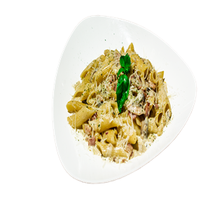 <b>Mushroom Carbonara with Penne</b><br/>Penne with bacon in carbonara sauce.